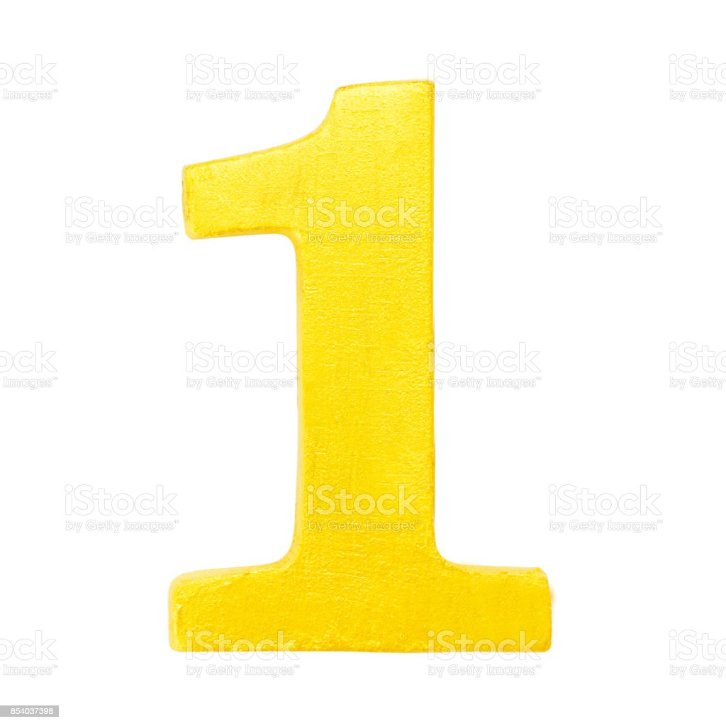 Golden yellow wood number 1 isolated white background.One of full number set stock photo