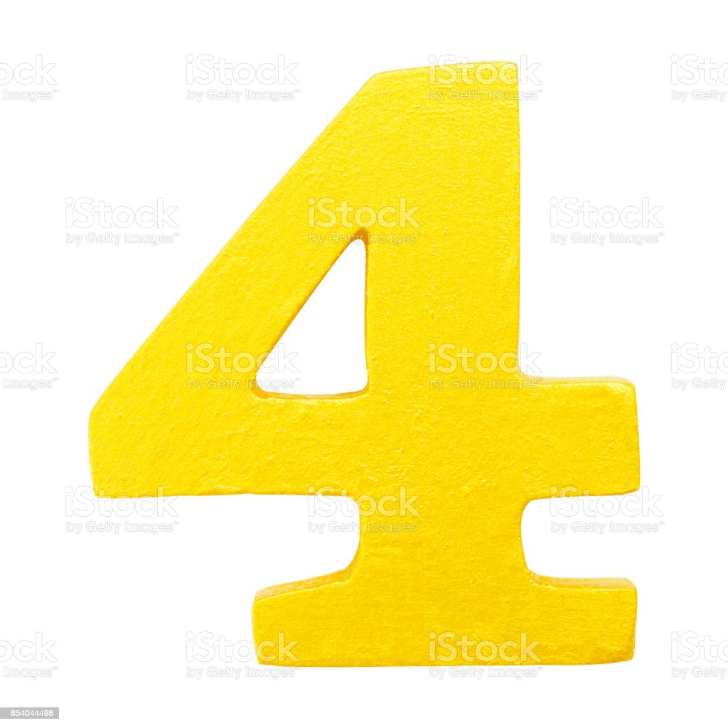 Golden yellow wood number 4 or Four  isolated white background.One of full number set stock photo
