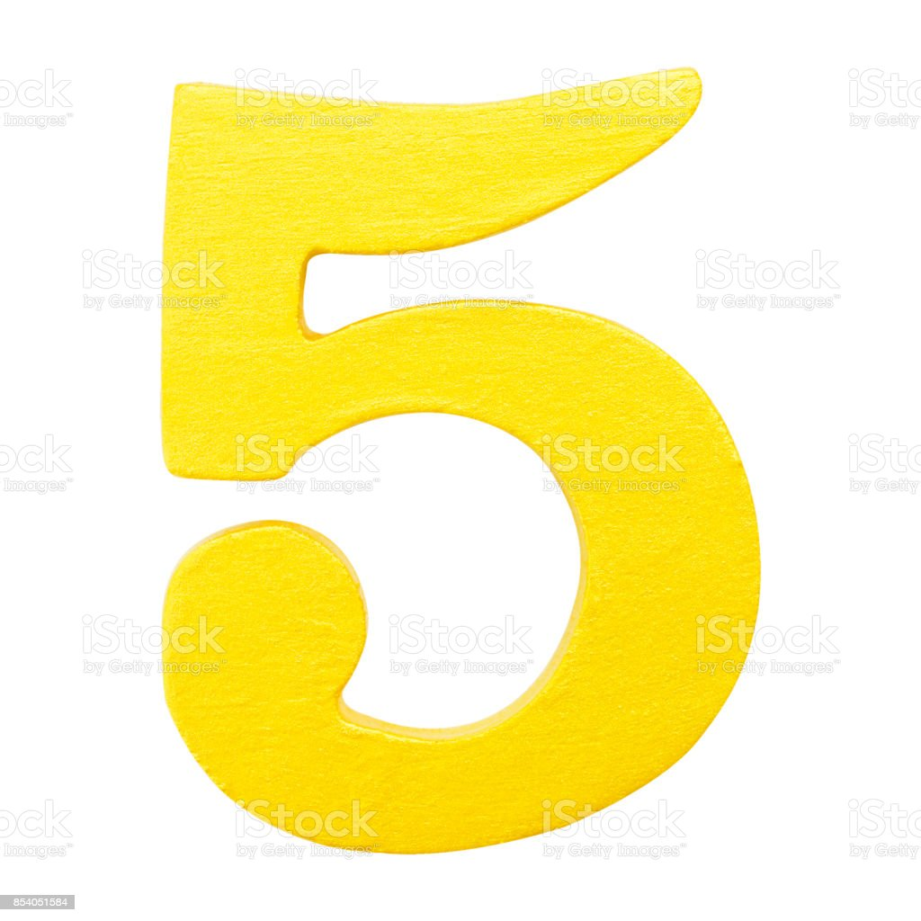 Golden yellow wood number 5 or five  isolated white background.One of full number set stock photo