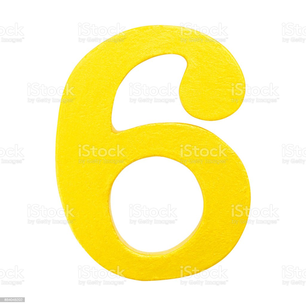 Golden yellow wood number 6 or Six  isolated white background.One of full number set stock photo