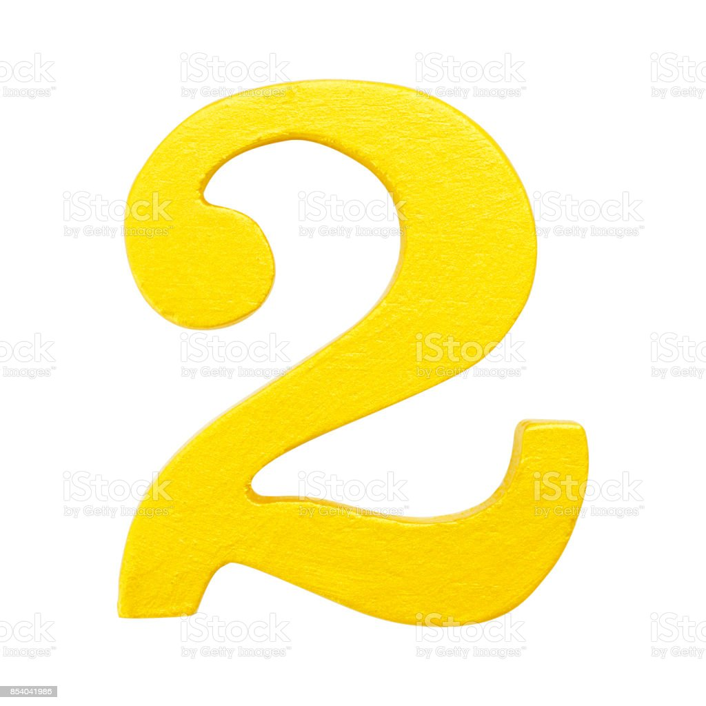 Golden yellow wood number2 or Two  isolated white background.One of full number set stock photo