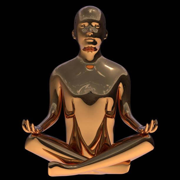 goldene yoga lotus pose mann stilisierte figur poliert. eiserner mensch - achtsamkeit persönlichkeitseigenschaft stock-fotos und bilder