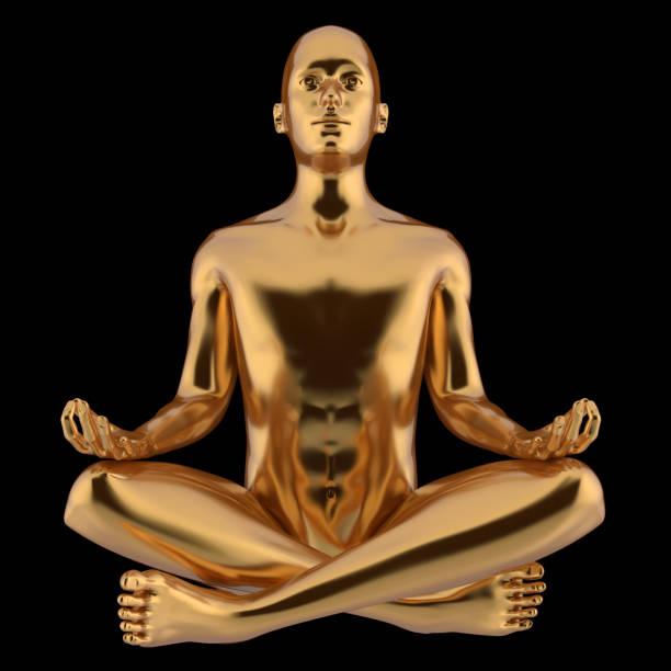 golden yoga mann lotus pose charakter stilisierte metallische nahaufnahme - achtsamkeit persönlichkeitseigenschaft stock-fotos und bilder