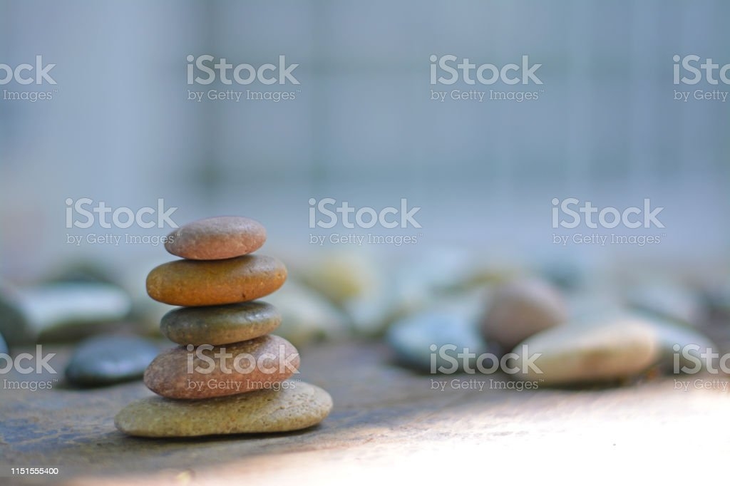 Golden Zen Stones And Many Stones With White Square Background