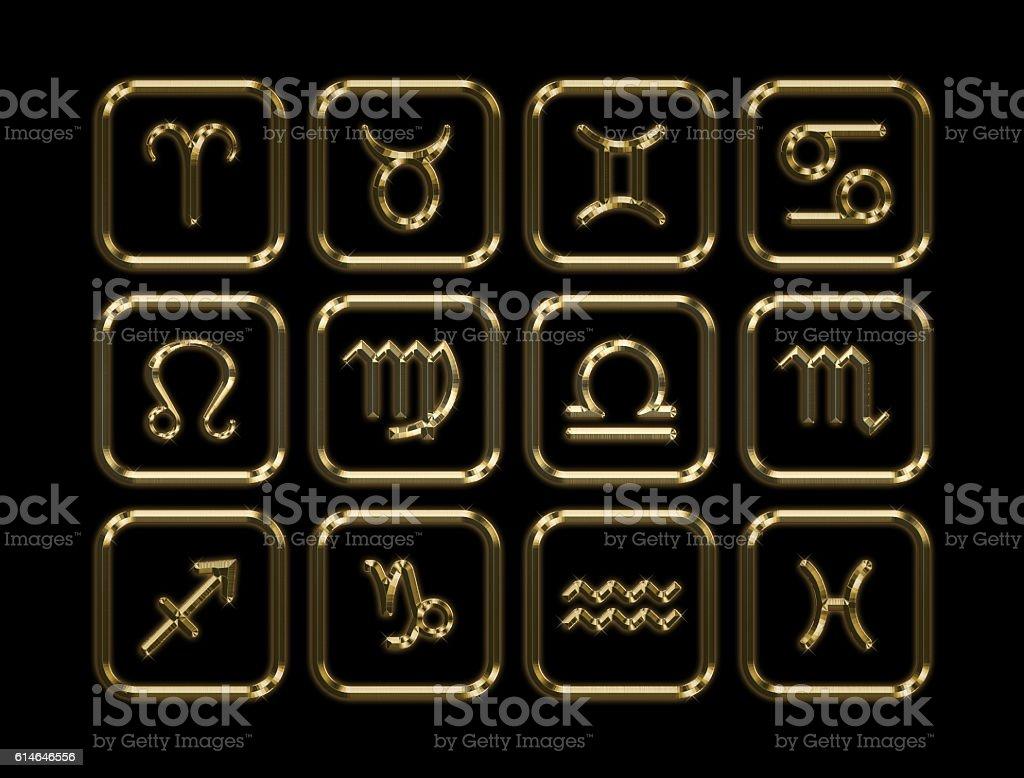 Golden Zodiac. 3D rendering stock photo