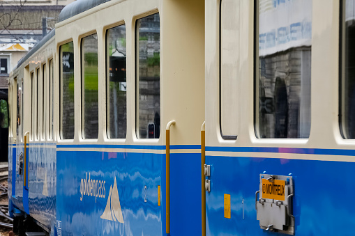 Goldenpass train arrives to Montreux. Two inscriptions can be seen on the side of the wagon