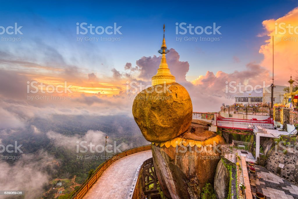 Goldeon Rock Myanmar stock photo