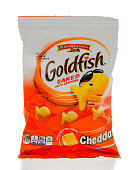 Winneconne, WI, USA - 1 March 2016: A bag of Goldfish baked crackers in cheddar flavor.