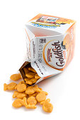 Miami, Florida,USA - June 1, 2015: 2 oz (57grams) package of Pepperidge Farm Goldfish baked snack crackers on white background. Pepperidge Farm is a commercial bakery in the U.S. founded in 1937 by Margaret Rudkin, who named the brand after her family's property in Fairfield, Connecticut, which in turn was named for the pepperidge tree, Nyssa sylvatica. It is based in Norwalk, Connecticut. In 1961, it was acquired by Campbell Soup Company.