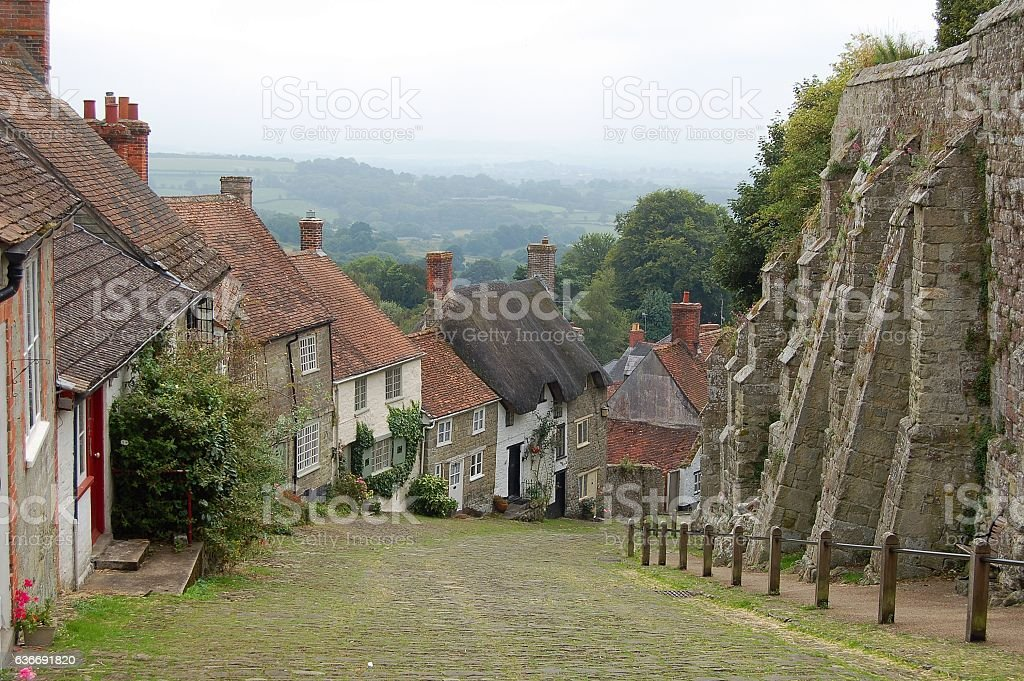 Goldhill in Shaftesbury stock photo