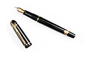 A gold-nibbed fountain pen on a white background