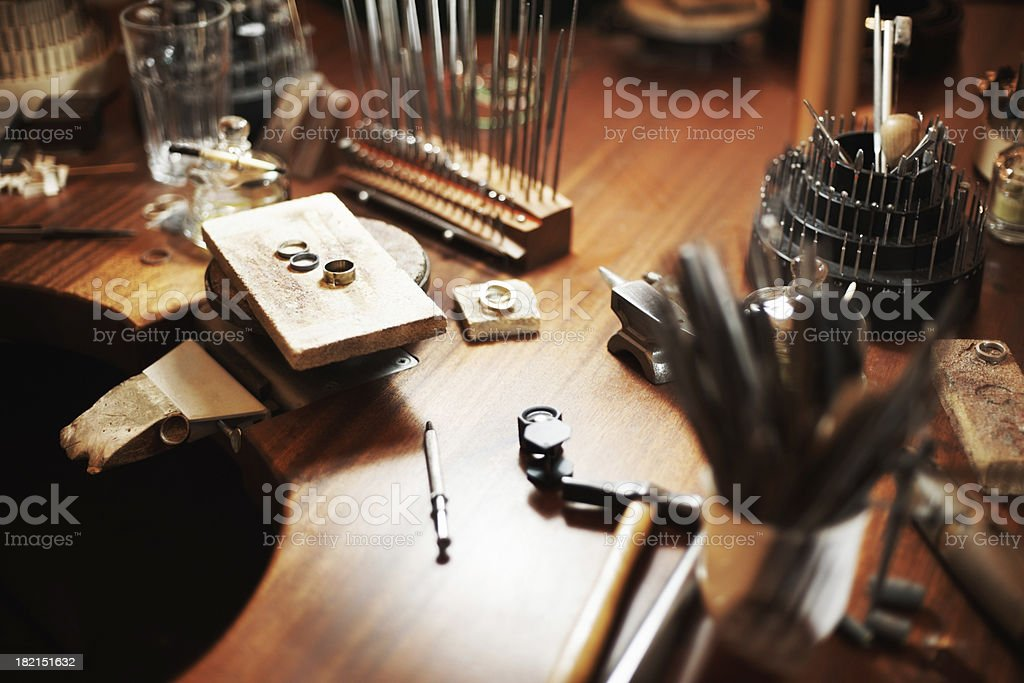 Goldsmith's workbench stock photo