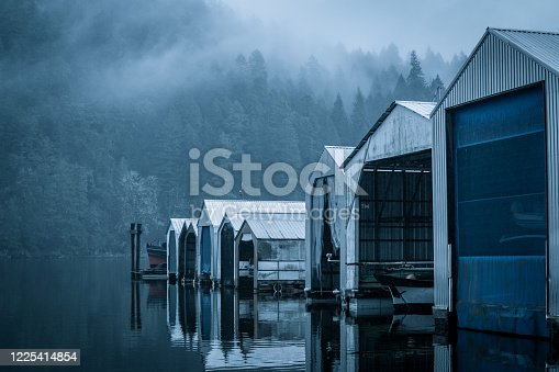 Rain and foggy conditions at the goldstream harbour off of the Malahat highway close to Victoria,BC.
