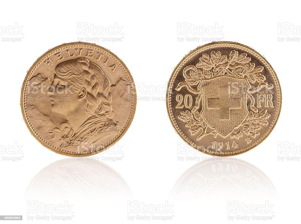 Goldvreneli – Swiss gold coins stock photo