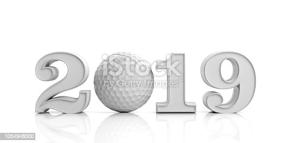 istock Golf 2019. New year 2019 isolated on white background. 3d illustration 1054948000