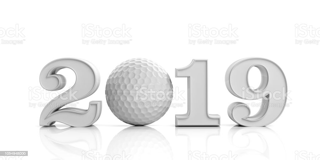 Golf 2019. New year 2019 isolated on white background. 3d illustration stock photo