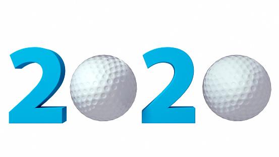 istock Golf 2020 design background on a White Background. 3d illustration 1165390131