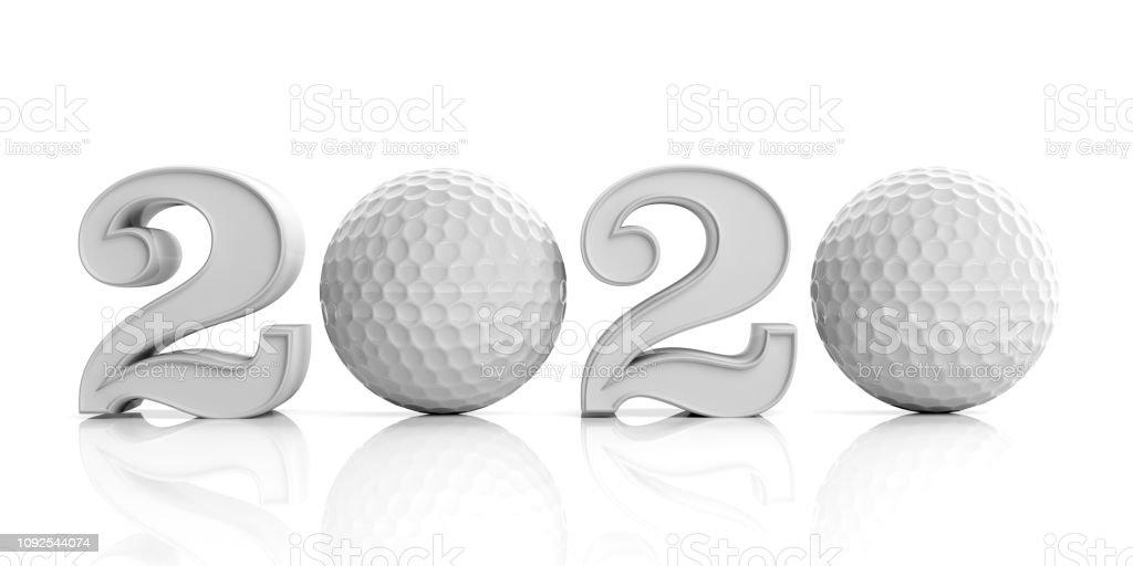 Calendario Golf 2020.2020 De Golf Ano Nuevo 2020 Aislado Sobre Fondo Blanco