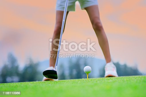 wood driver being backswing ready to hit golf ball away to destination on the fairway for best winning score