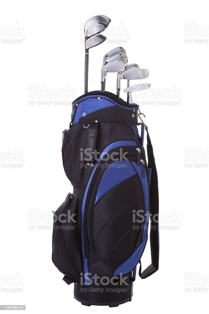Golf bag and clubs isolated on white stock photo