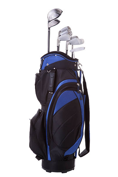golf bag and clubs isolated on white - golf clubs stock photos and pictures
