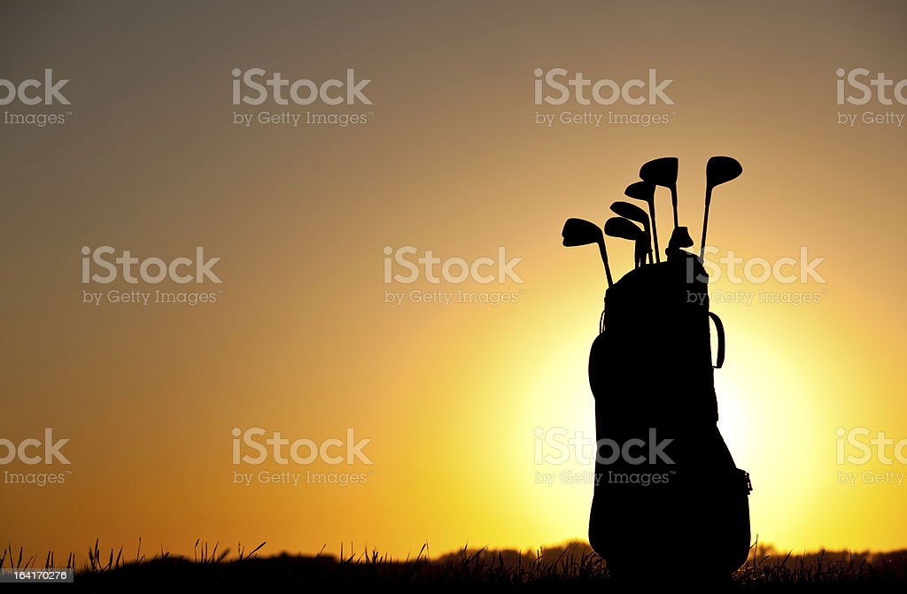 Golf Bag And Equipment Silhouette stock photo