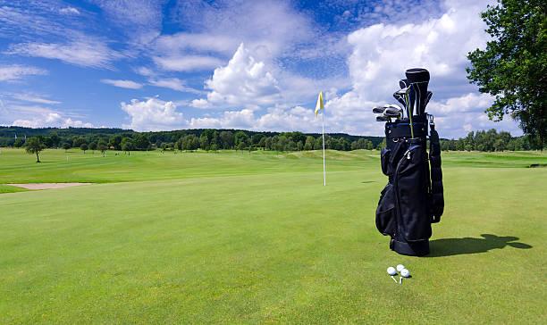 Golf bag on a Swedish golf field stock photo