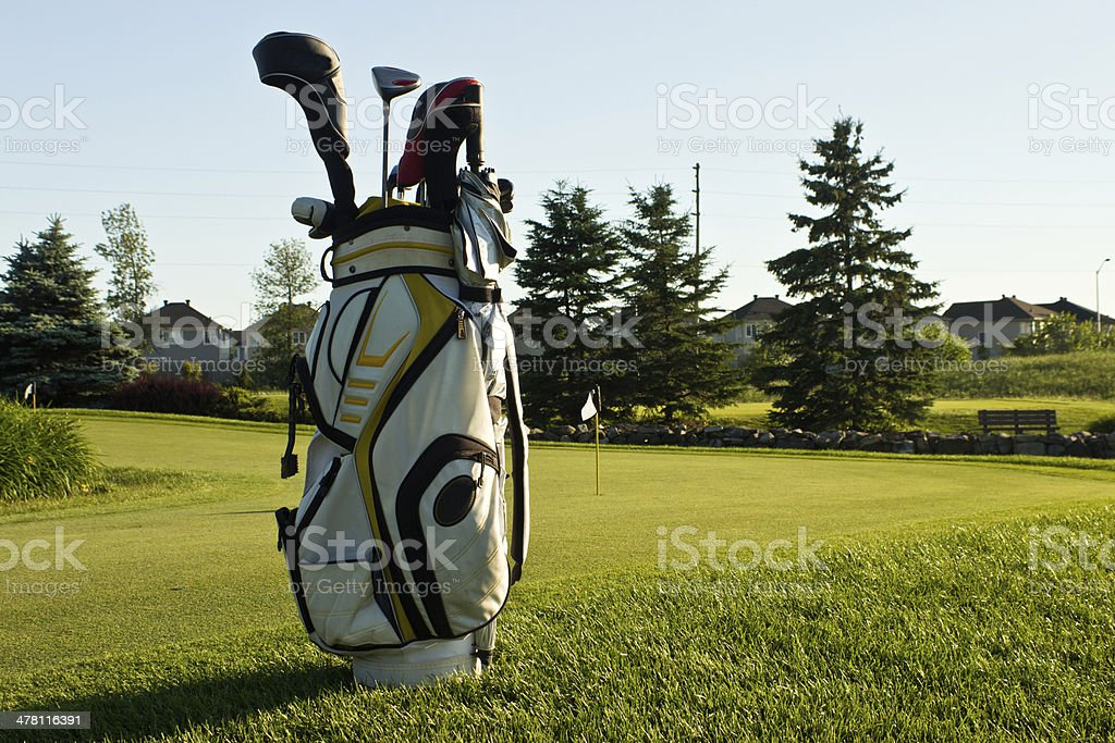 Golf bag on the course stock photo