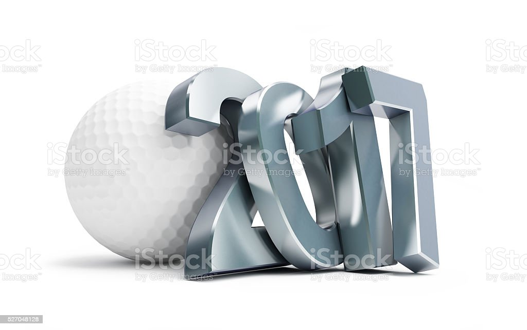 golf ball 2017 3D rendering, on a white background stock photo