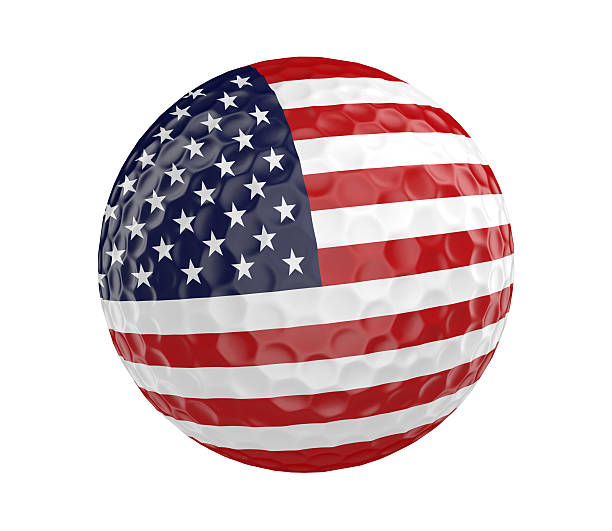 Golf ball 3D render with American flag, isolated on white stock photo