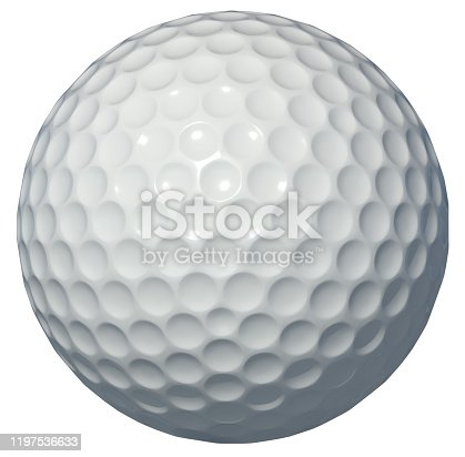 golf, ball, 3d, rendering, white background, isolated