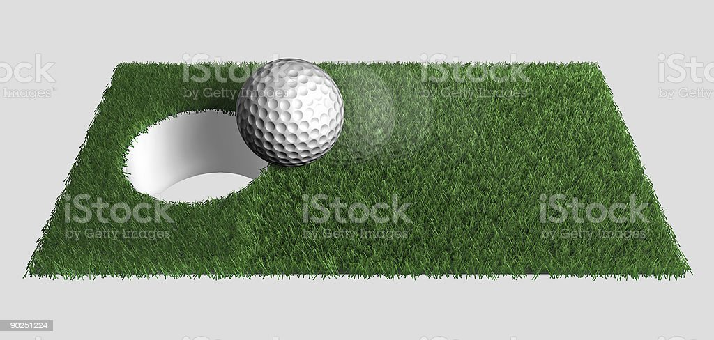 Golfball allmost in hole royalty-free stock photo