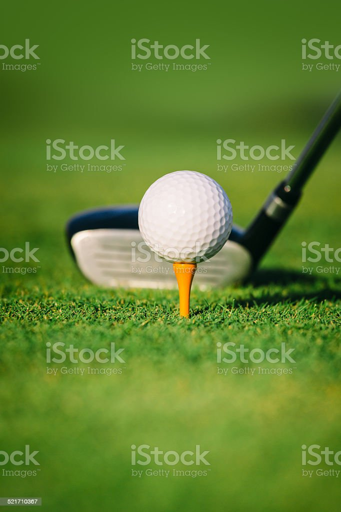 Golf Ball and Club stock photo