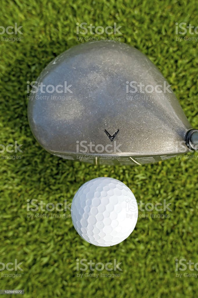 golf ball and driver from above royalty-free stock photo