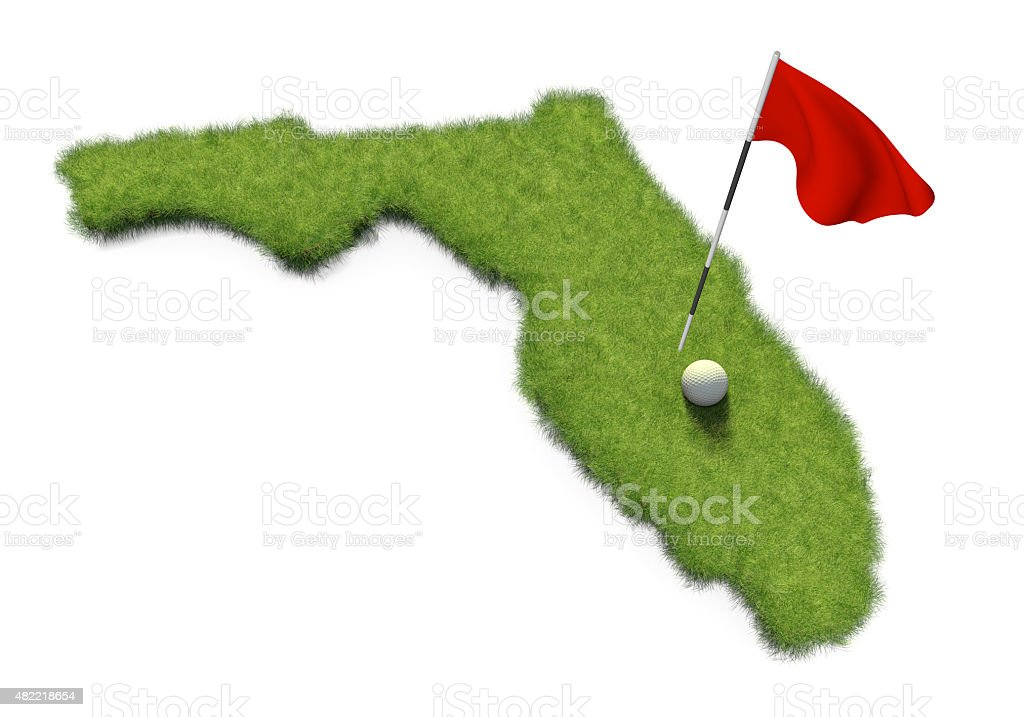 Golf ball and flag on course shaped like Florida stock photo