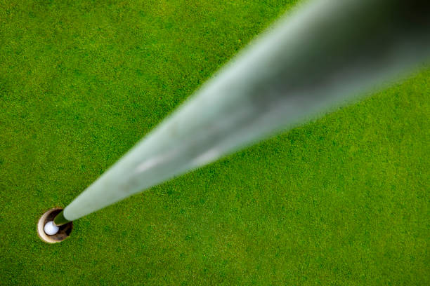 Golf Ball and Flag Stick in The Golf Hole stock photo