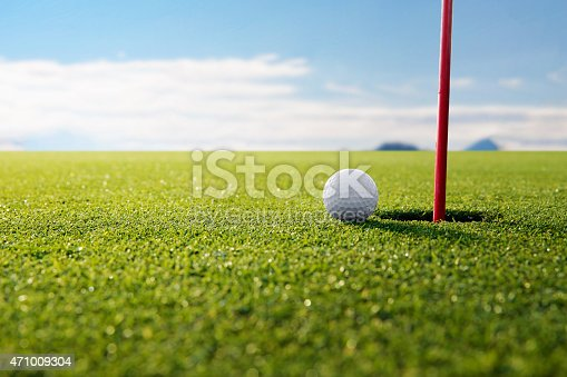 istock golf ball and hole 471009304