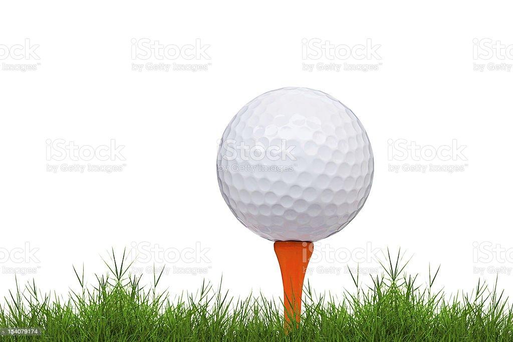 Pallina da golf e tee su erba verde isolato foto stock royalty-free