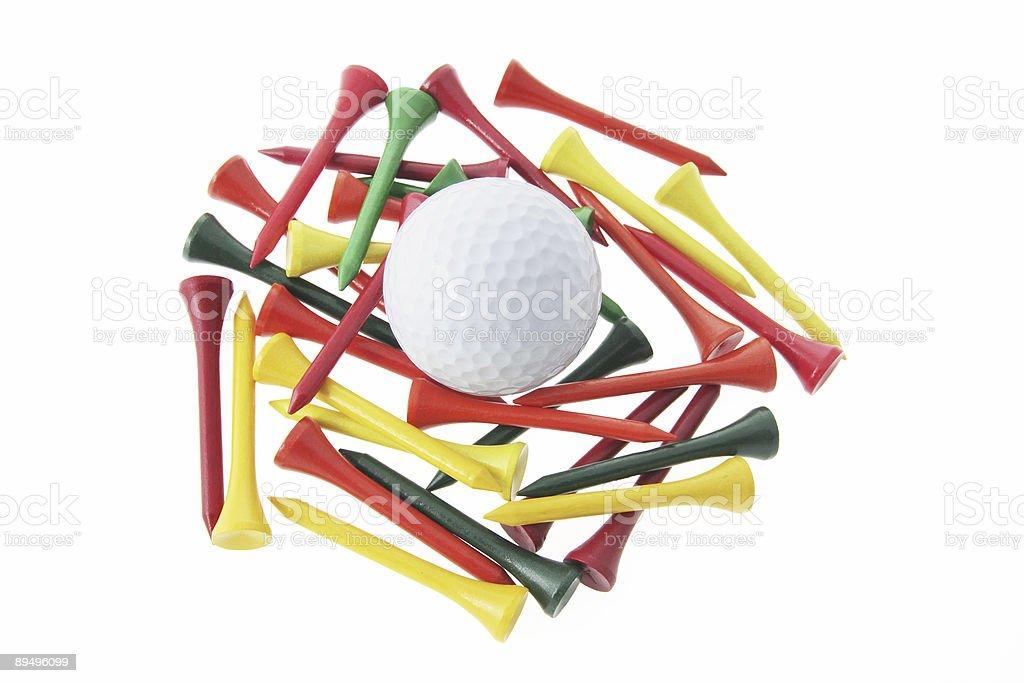 Golf Ball and Tees royaltyfri bildbanksbilder