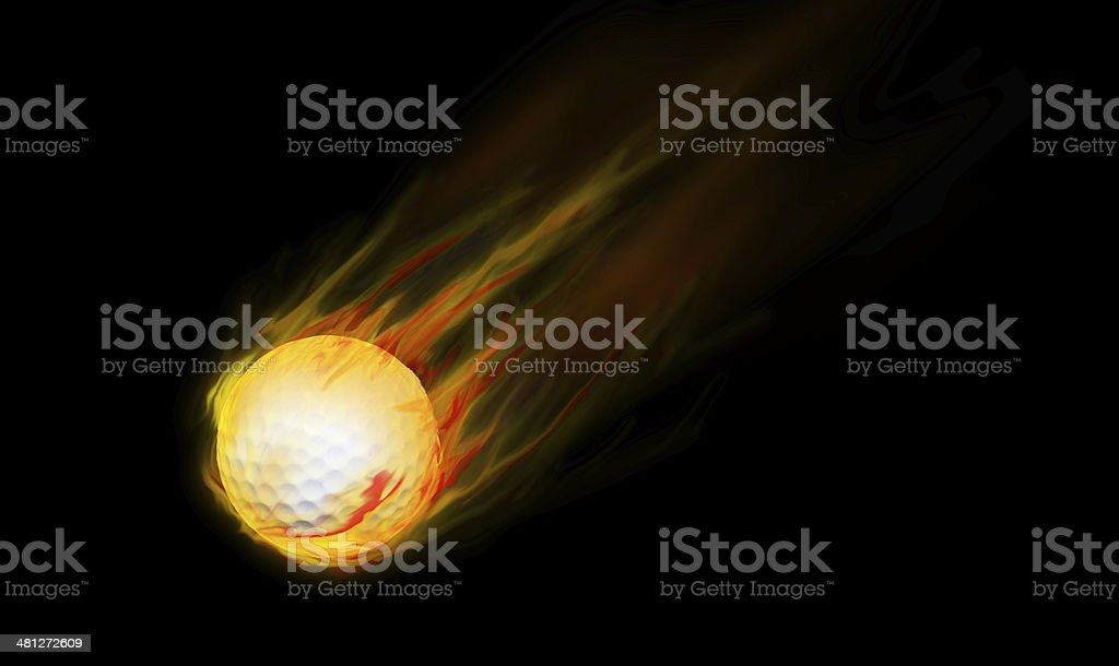 Golf ball fire motion stock photo