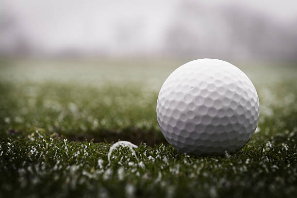 Golf Ball & Frost Golf ball and some frost. alongside stock pictures, royalty-free photos & images