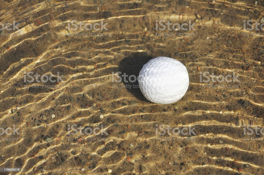 Golf Ball in a Water Hazard stock photo