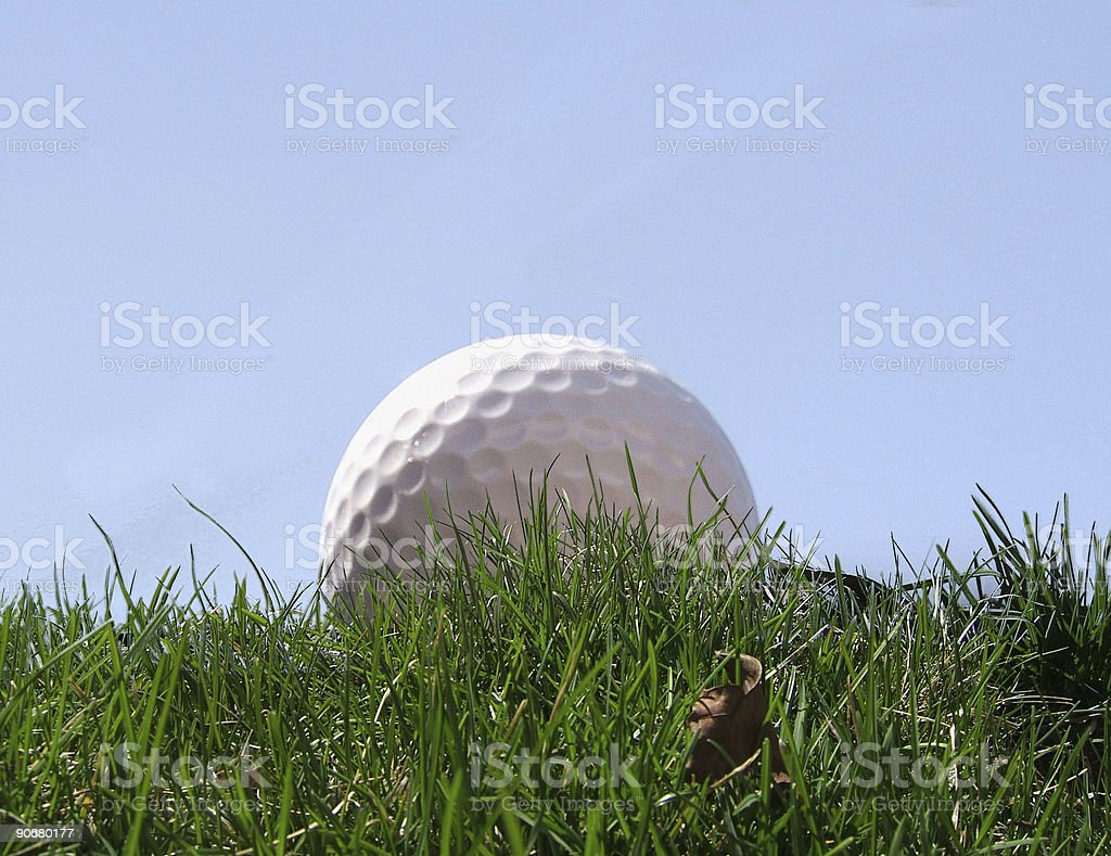 Golf ball in grass royalty-free stock photo