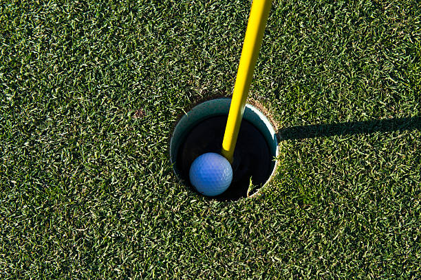 Golf ball in the cup stock photo
