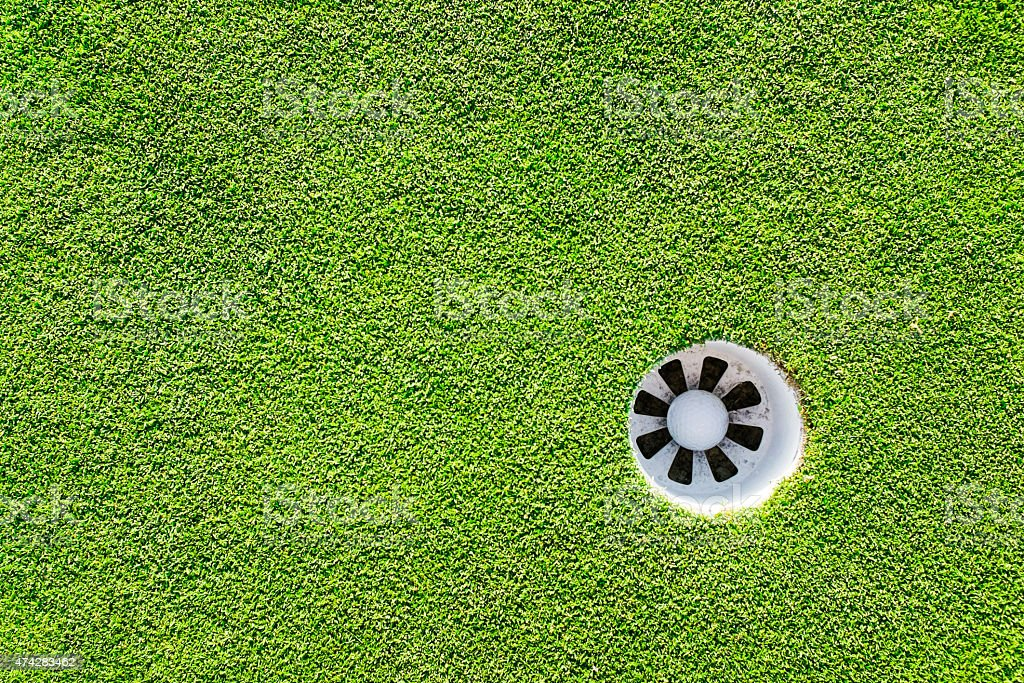A golf ball in the hole shot from above....