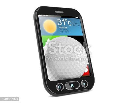 952196272 istock photo Golf ball inside smartphone 948887324