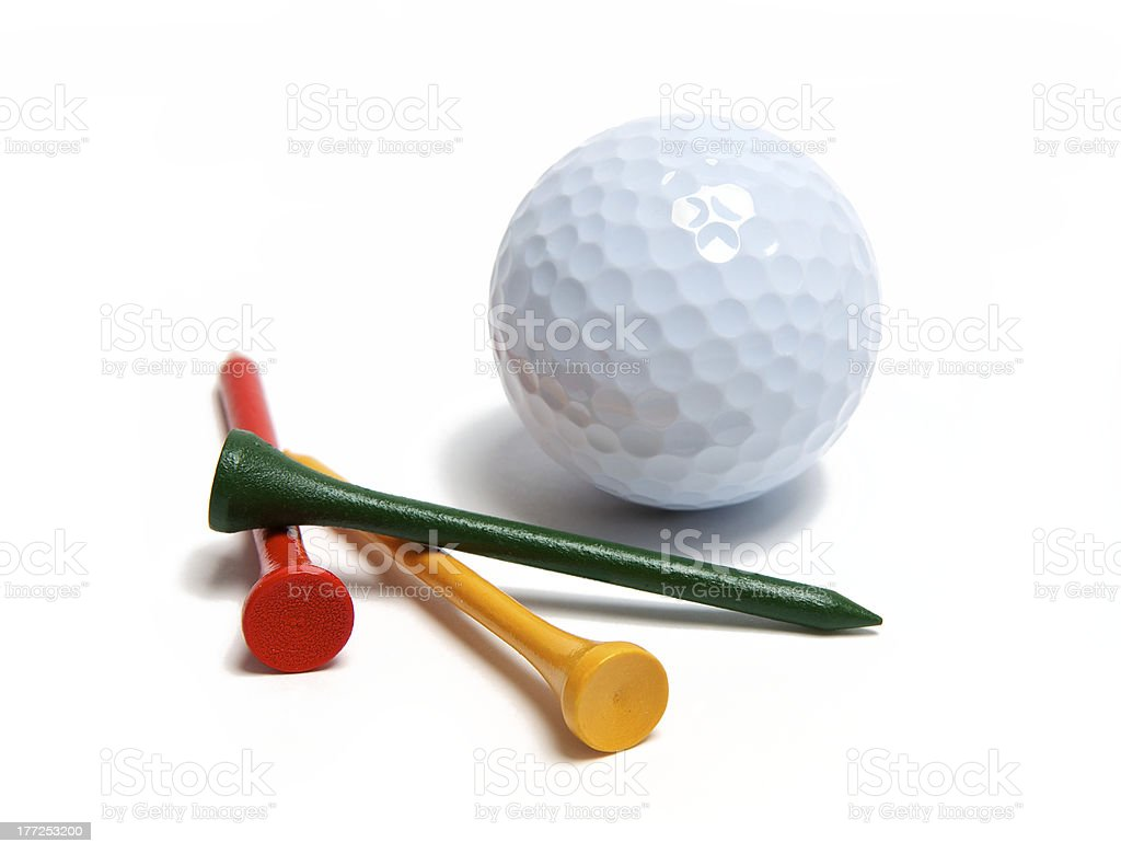 Golf ball isolated on white with tees stock photo
