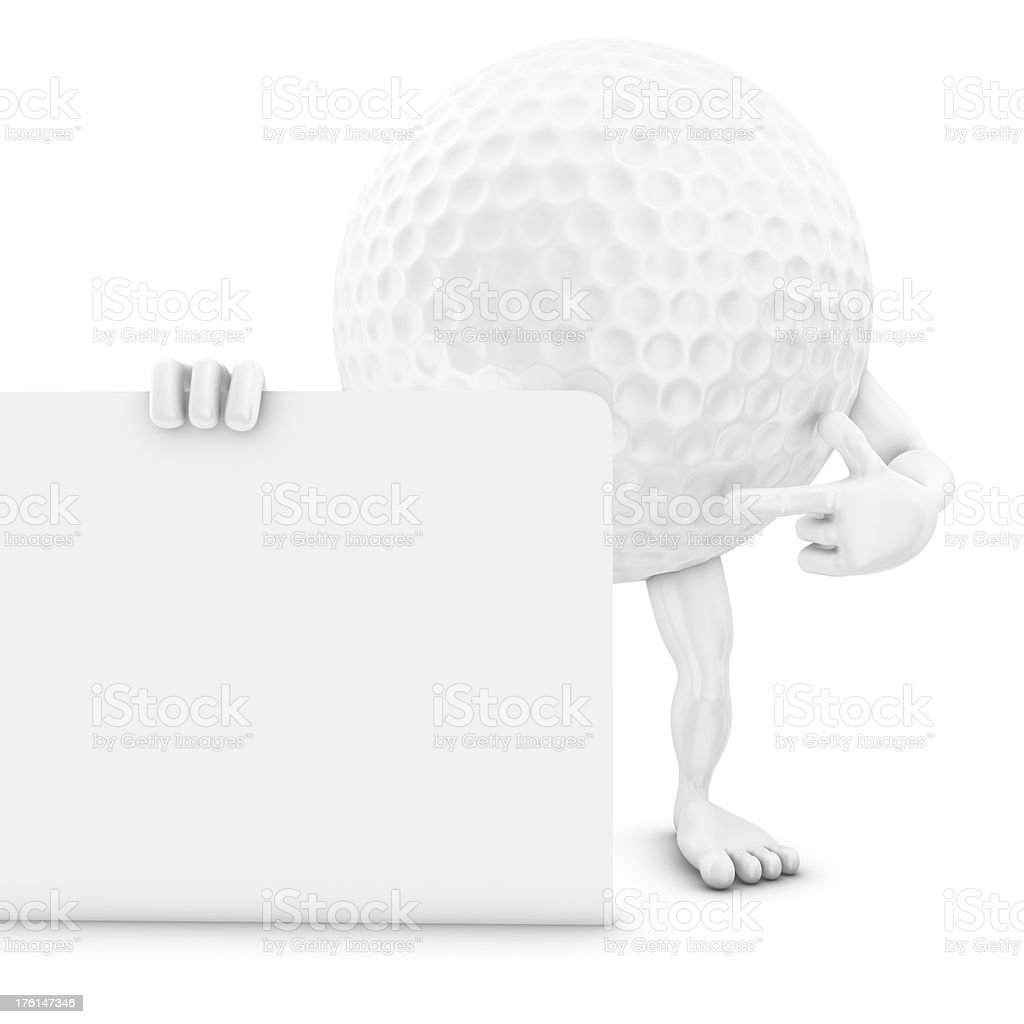 golf ball man pointing on whiteboard royalty-free stock photo
