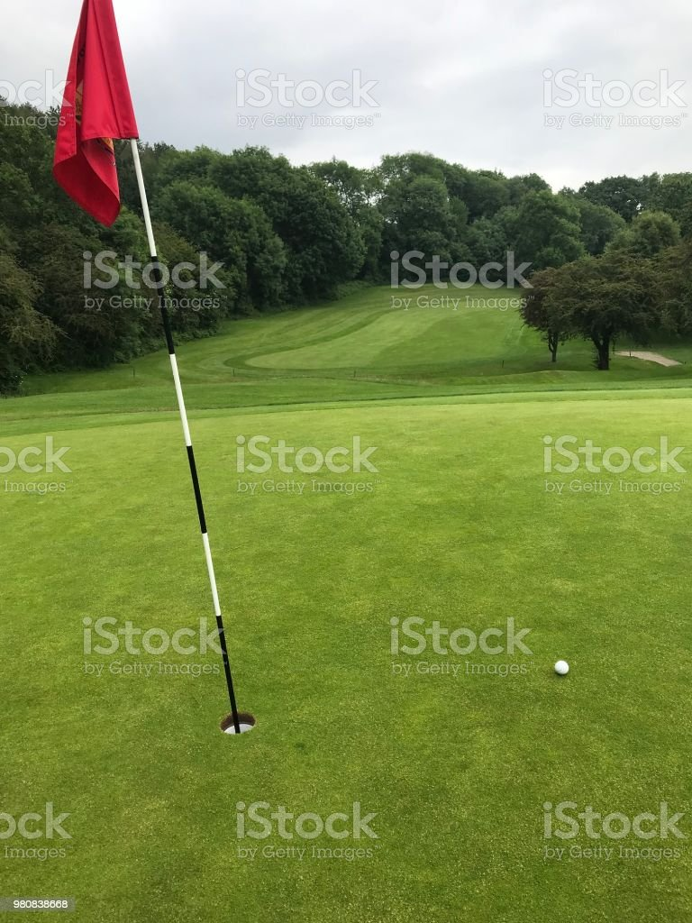 Golf ball on a golf green next to the hole with red flag and fairway...