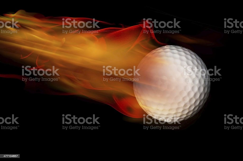 Golf Ball on Fire. stock photo